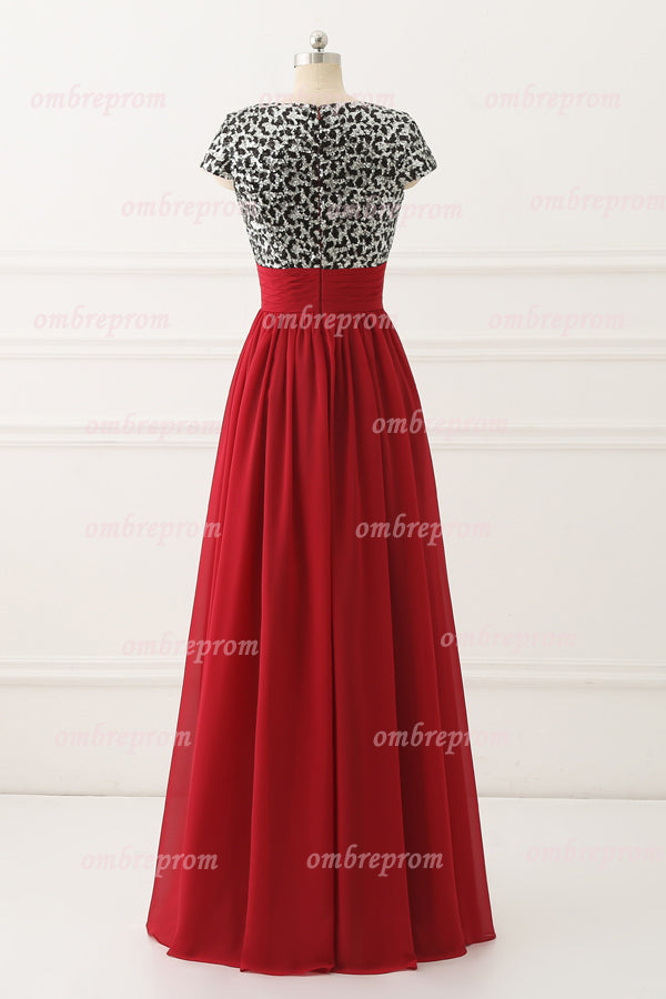Red A Line Floor Length Deep V Neck Capped Sleeve Chiffon Cheap Prom Dress,Evening Dress P257 - Ombreprom