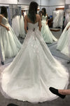 White A Line Chapel Train Sweetheart Sleeveless Beading Wedding Dress,Beach Wedding Dress W237