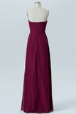 Deep Claret A Line Floor Length Sweetheart Strapless Sleeveless Cheap Bridesmaid Dresses B177 - Ombreprom