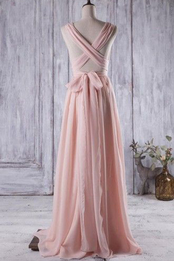 Pink A Line Floor Length Deep V Neck Sleeveless X Back Prom Dress,Bridesmaid Dress P140 - Ombreprom