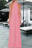 Pink A Line Floor Length Halter Sleeveless Side Slit Prom Dress,Party Dress P415 - Ombreprom