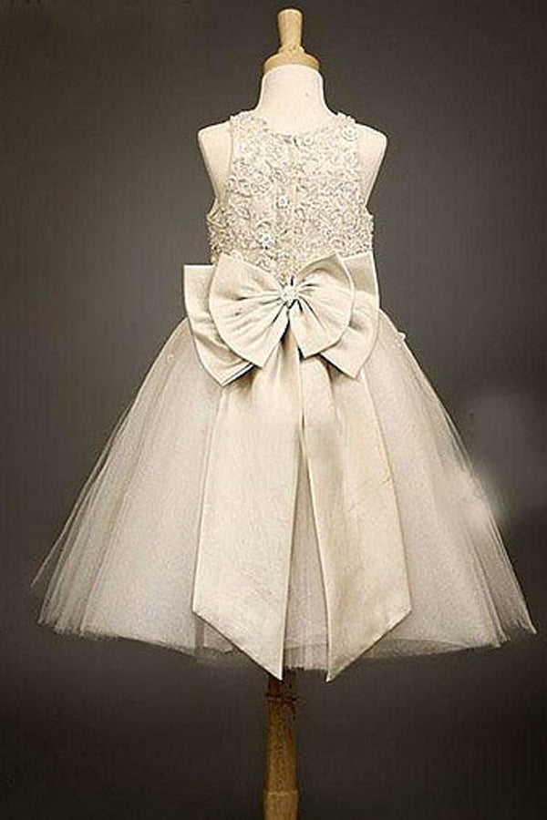 A Line Floor Length Scoop Neck Sleeveless Appliques Beading Flower Girl Dresses,Baby Dress F33 - Ombreprom