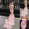 Pink Mermaid Court Train Straight Neck Sleeveless Ruffles Prom Dress,Party Dress P341 - Ombreprom