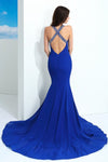 Blue Trumpet Court Train Sweetheart Sleeveless Backless Prom Dress,Party Dress P379 - Ombreprom