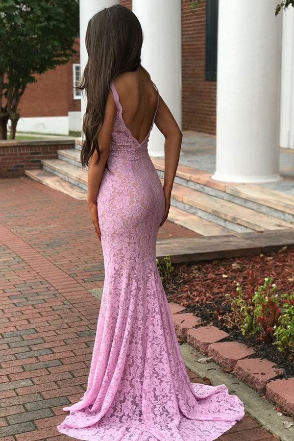 Pink Sheath Brush Train Deep V Neck Sleeveless Backless Lace Prom Dress,Party Dress P412 - Ombreprom