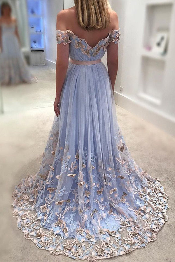 Light Lavender A Line Sweep Train Off Shoulder Mid Backless Floral Prom Dress,Formal Dress