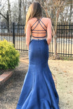 Two Piece Navy Blue Mermaid Brush Train Sleeveless Backless Beading Prom Dress,Party Dress P526 - Ombreprom