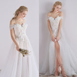 White A Line Sweep Train Sweetheart Spaghetti Appliques Wedding Dress,Beach Wedding Dress W199