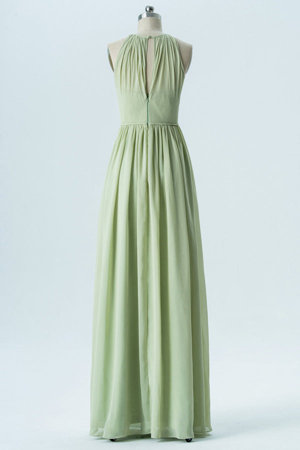 Seafoam Green A Line Floor Length Halter Sleeveless Chiffon Cheap Bridesmaid Dresses B146 - Ombreprom