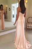Pink A Line Brush Train One Shoulder Sleeveless Chiffon Bridesmaid Dress, Wedding Party Dress B326 - Ombreprom