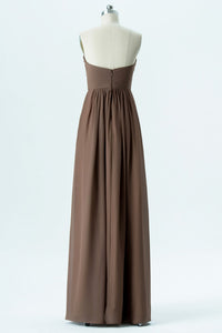 Warm Taupe A Line Floor Length Sweetheart Strapless Open Back Cheap Bridesmaid Dresses B192
