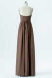 Warm Taupe A Line Floor Length Sweetheart Strapless Cheap Bridesmaid Dresses B192