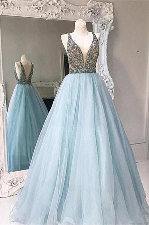 Light Blue A Line Floor Length Deep V Neck Backless Beading Tulle Prom Dress,Party Dress