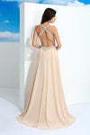 A Line Brush Train Sweetheart Sleeveless Backless Beading Chiffon Prom Dress,Party Dress P352 - Ombreprom