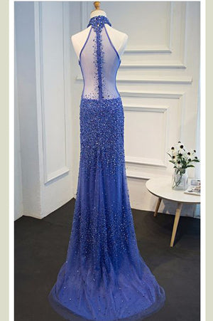 Royal Blue Sheath Sweep Train Halter Sleeveless Sheer Back Beading Prom Dress,Formal Dress P111 - Ombreprom