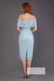 Blue Sheath Tea Length Off Shoulder Lace Bridesmaid Dress, Wedding Party Dress B337 - Ombreprom