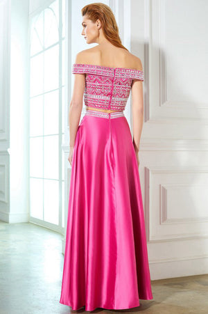 7781018325 Two Piece Hot Pink A Line Floor Length Off Shoulder Beading Prom Dress