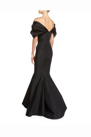 Black Mermaid Floor Length Off Shoulder Short Sleeves Mother of the Bride Dresses M28 - Ombreprom