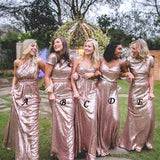 A Line Floor Length Sleeveless Sparkle Cheap Bridesmaid Dress B267 - Ombreprom