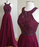 Burgundy A Line Floor Length Halter Sleeveless Beading Prom Dress,Evening Dress P84 - Ombreprom