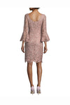 Pink Sheath Knee Length Bateau Neck 3/4 Sleeves Lace Mother of the Bride Dresses M30 - Ombreprom