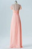 Peach Sherbet A Line Floor Length Sheer Nack Short Sleeve Open Back Cheap Bridesmaid Dresses B183 - Ombreprom