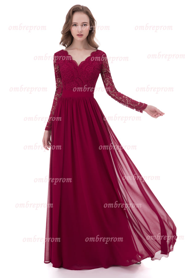 Burgundy A Line Deep V Neck Long Sleeve Lace Cheap Prom Dress,Bridesmaid Dress P259 - Ombreprom