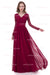 Burgundy A Line Deep V Neck Long Sleeve Lace Cheap Prom Dress,Bridesmaid Dress P259