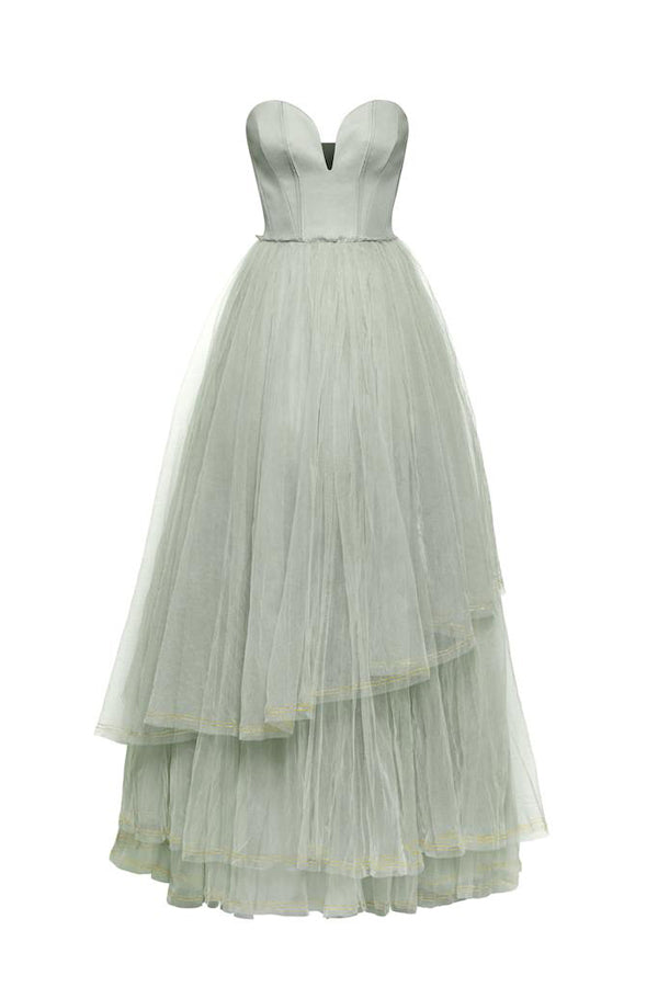 A Line Floor Length Sweetheart Sleeveless Layers Tulle Ruffles Long Prom Dress,Party Dress P198 - Ombreprom