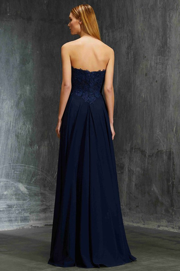 Navy Blue A Line Floor Length Sleeveless Mid Back Appliques Prom Dress,Bridesmaid Dress P344 - Ombreprom