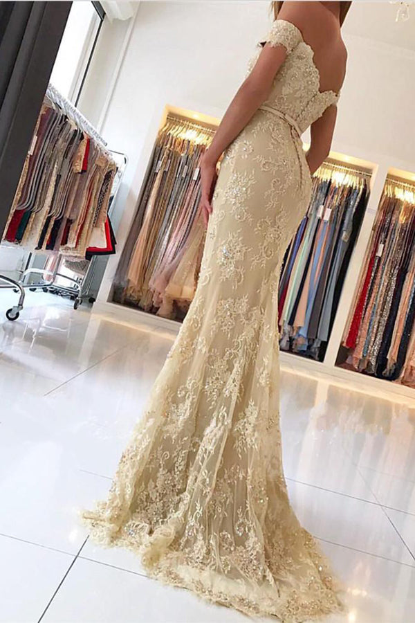 Silver Gray Sheath Brush Train Off The Shoulder Zipper Back Beading Lace Long Prom Dresses P428