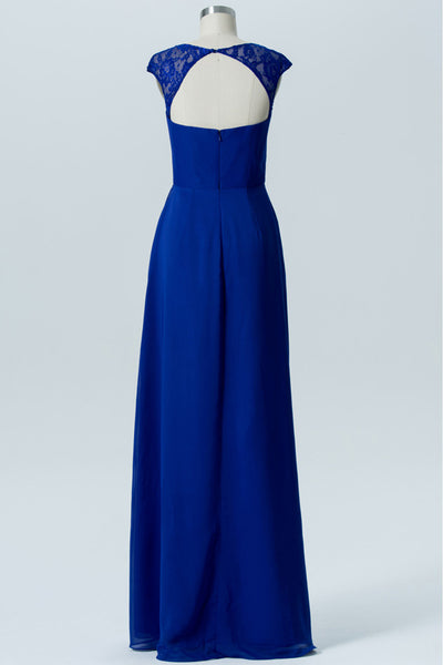 Classic Blue A Line Floor Length Sweetheart Capped Sleeve Keyhole Back Cheap Bridesmaid Dresses B185 - Ombreprom