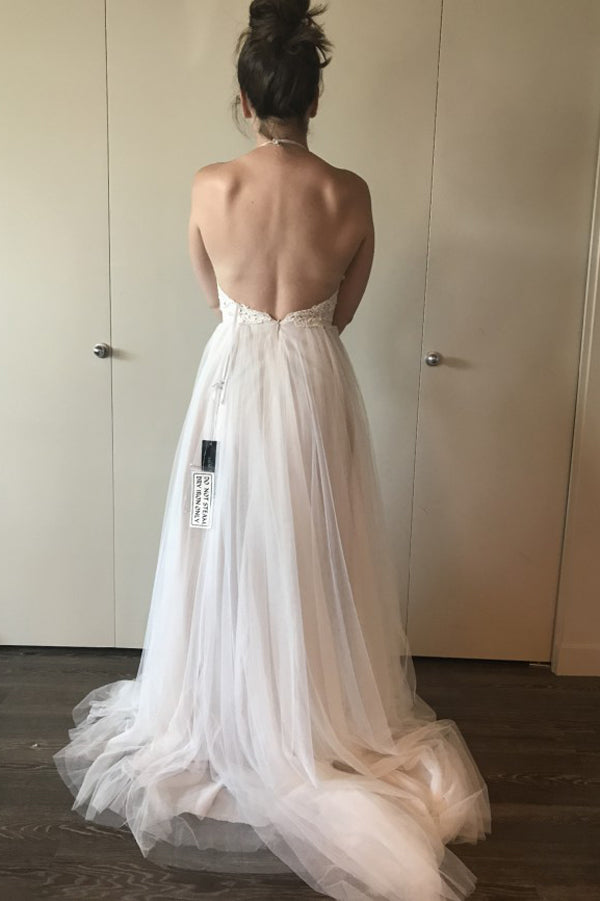 Halter Backless Cheap Wedding Gown,A Line Sweep Train Sleeveless Appliques Wedding Dress W137