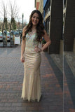 Sheath Floor Length Sheer Neck Sleeveless Backless Beading Prom Dress,Formal Dress