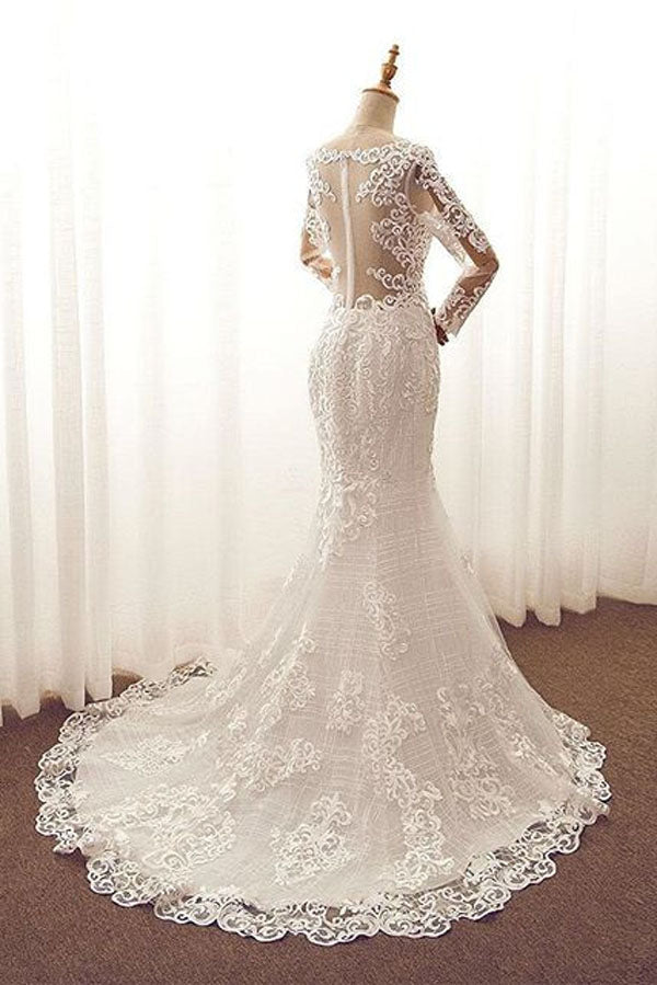 White Mermaid Court Train Long Sleeve Applique Wedding Dress,Perfect Wedding Dress W264