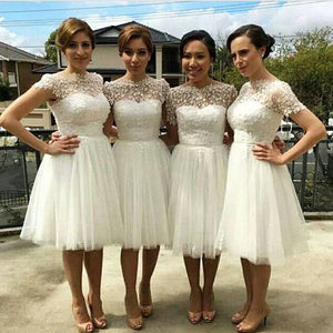 White A Line Knee Length Sheer Neck Short Sleeve Appliques Cheap Bridesmaid Dress B276