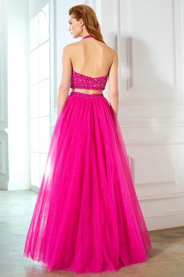 Hot Pink Two Piece A Line Floor Length Halter Sleeveless Beading Prom Dress,Formal Dress P310