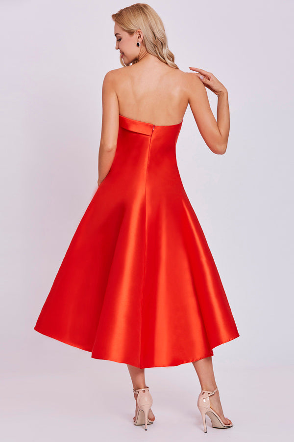 Orange A Line Tea Length Strapless Sleeveless Mid Back Prom Dress,Party Dress P498 - Ombreprom