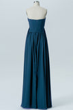 Winter Teal A Line Floor Length Sweetheart Strapless Mid Back Cheap Bridesmaid Dresses B156 - Ombreprom