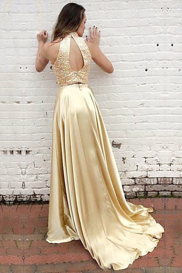Golden Two Piece A Line Sweep Train Sleeveless Keyhole Back  Beading Prom Dress,Party Dress P317
