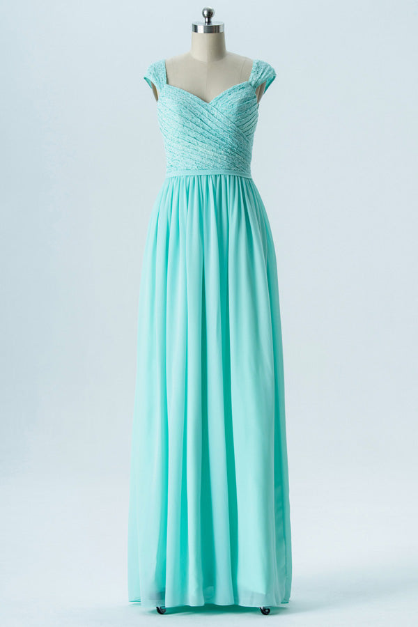 Hint of Mint A Line Floor Length Sweetheart Capped Sleeve V Back Cheap Bridesmaid Dresses