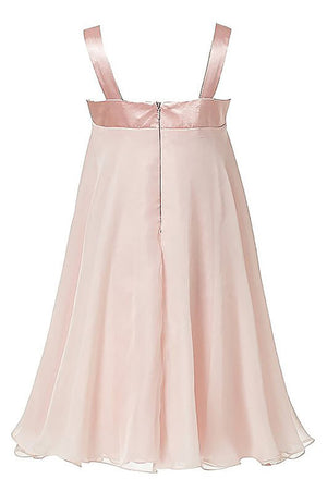 Pink A Line Floor Length Square Neck Sleeveless Chiffon Flower Girl Dresses,Baby Dress F32 - Ombreprom