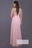Pink A Line Floor Length Sleeveless Side Slit Bridesmaid Dress, Wedding Party Dress B331 - Ombreprom