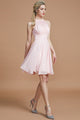 Pink A Line Knee Length Halter Sleeveless Chiffon Bridesmaid Dress, Wedding Party Dress B320 - Ombreprom