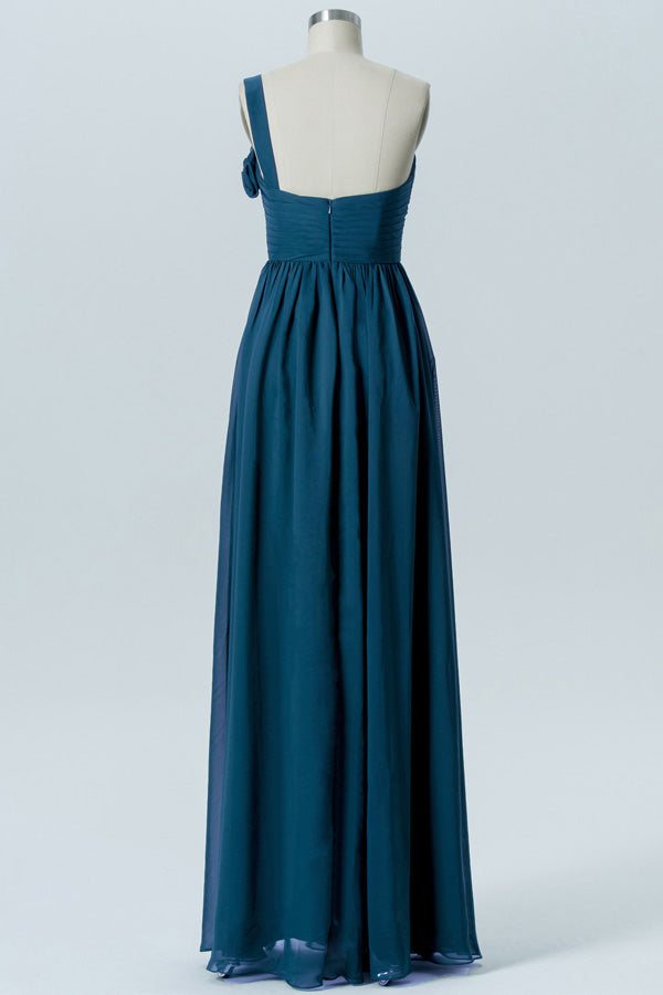 Winter Teal A Line Floor Length Sweetheart One Shoulder Mid Back Cheap Bridesmaid Dresses B186 - Ombreprom