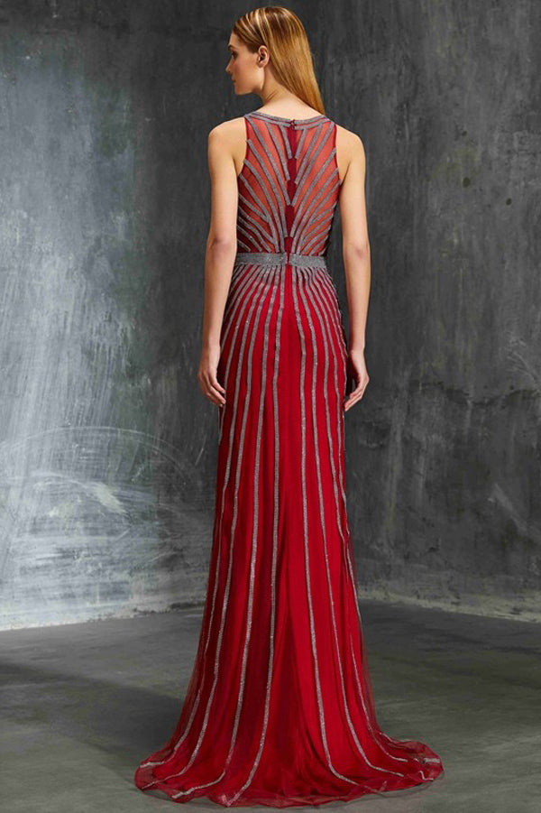 Red Sheath Sweep Train Jewel Sleeveless Elegant Prom Dress,Formal Dress P299 - Ombreprom