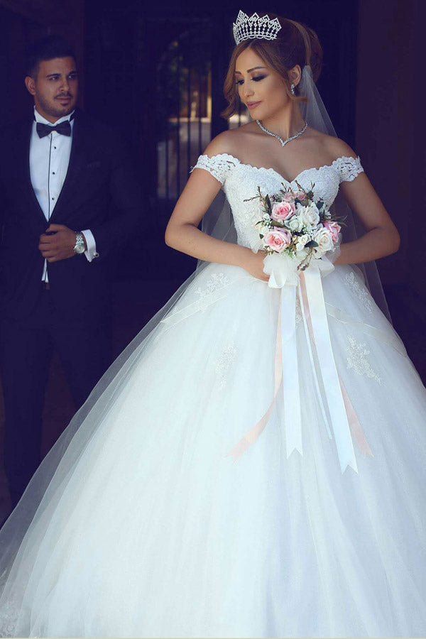Gorgeous White Ball Gown Floor Length Off The Shoulfer Princess Wedding Dresses With Appliques W235
