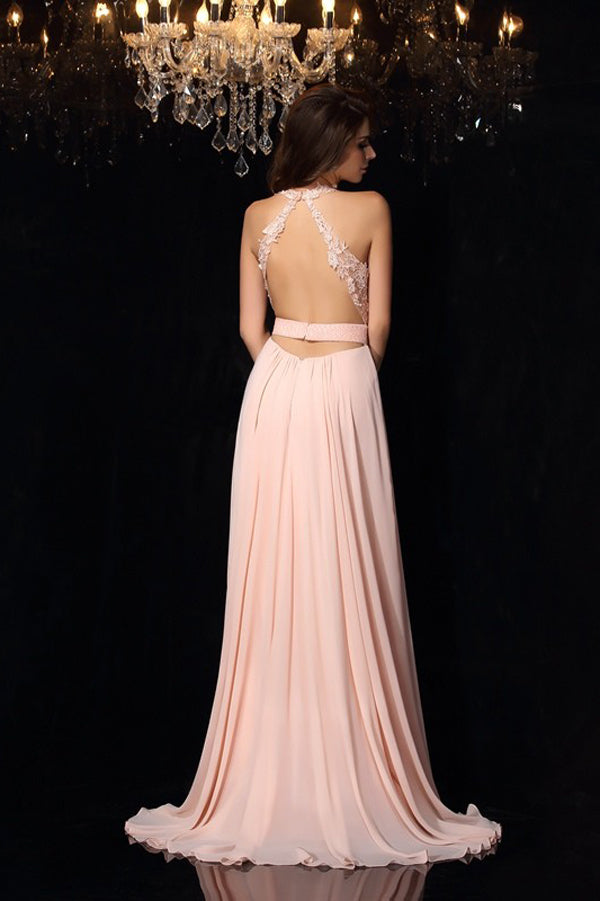 Pink A Line Sweep Train Halter Sleeveless Backless Appliques Side Slit Prom Dress,Formal Dress P298 - Ombreprom