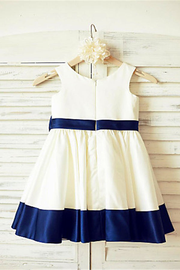 A Line Floor Length Sleeveless Zipper Back Ribbon Flower Girl Dresses,Baby Dress F26 - Ombreprom