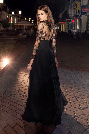 Black A Line Floor Length Jewel Neck Long Sleeve Sheer Back Lace Prom Dress,Formal Dress P280 - Ombreprom